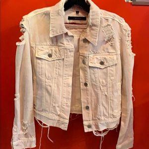 J Brand denim jacket purposefully distressed